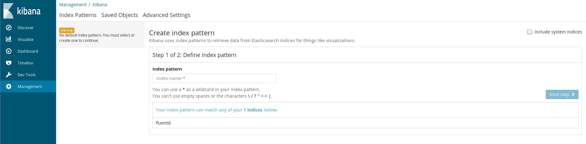 Kibana index pattern definition